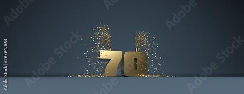 Fototapeta 70 ans, anniversaire, mot doré sur fond bleu