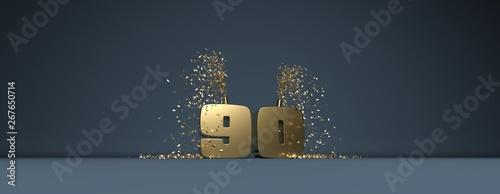 Valokuvatapetti 90 ème anniversaire en lettres dorées