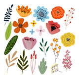 Fototapeta Kwiaty - Vector set of isolated floral elements with hand drawn flowers on a white background