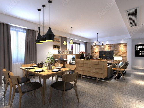 3d render of dining room Fototapet