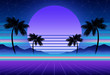 canvas print picture - Synthwave and retrowave background template. Palms, sun and space in computer game. Retro design, rave music, 80s computer graphics and sci-fi concept.