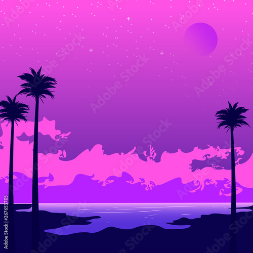 Tela  Synthwave poster with beach and palms. Pink sunset