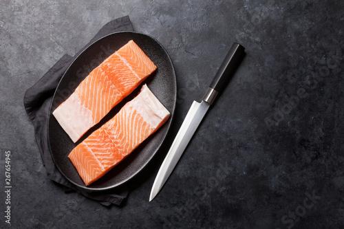 Stampa su Tela  Raw salmon fish fillet