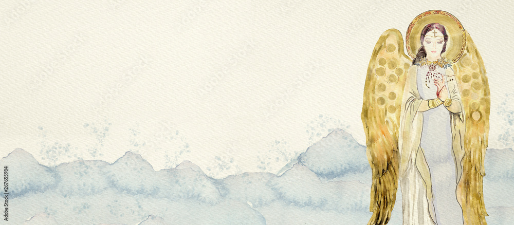 Fototapety, obrazy: Watercolor gold angel. Christian banner