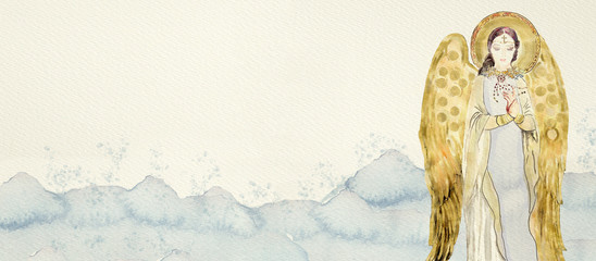 Watercolor gold angel. Christian banner