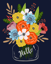 Vertical Postcard Template With Cute Hand Drawing Bright Bouquet Of Flowers In A Glass Jar On A Dark Blue Background, Vector