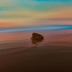 Fototapeta3D illustration. Colorful artistic wildlife landscape. Boat on the water.