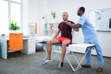Sportsman Coming To Physical Therapist After Being Injured