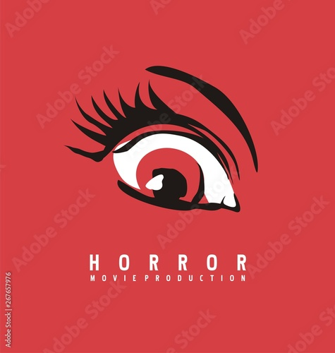 Horror movie production business logo design concept. Eye symbol drawing on red background. Vector illustration. Wall mural