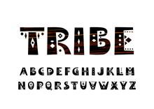 Vector Uppercase Bold Alphabet In Tribal Style