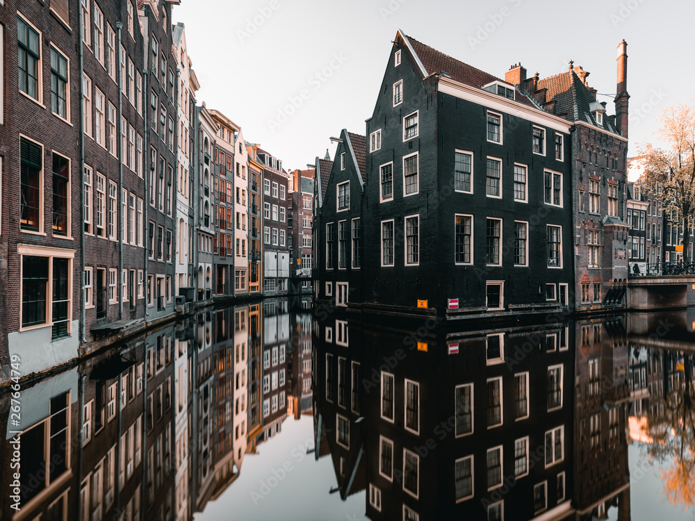 Fototapety, obrazy: Canal and old houses in Amsterdam, Netherlands.