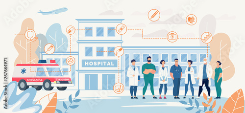 Ingelijste posters Cartoon cars Professional Hospital Medical Staff Presentation Landing Page Vector Doctors Nurses Meeting Waiting Patients Standing front of Clinic Building Ambulance Car Illustration Medicine Healthcare Promotion