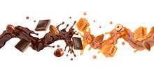 Liquid Dark Chocolate, Sweet Caramel Sauce Swirls Splashes Twisted, Toffees, Almonds And Hazelnuts. Сombination Of Caramel, Toffees, Chocolate And Hazelnuts Almonds Flavors. Label Design Element. 3D