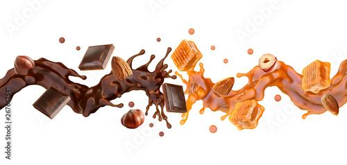 Foto Liquid dark chocolate, sweet caramel sauce swirls splashes twisted, toffees, almonds and hazelnuts