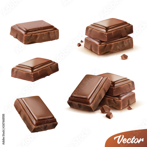 3d realistic isolated vector icon set, pieces of milk or dark chocolate with cru Fototapeta