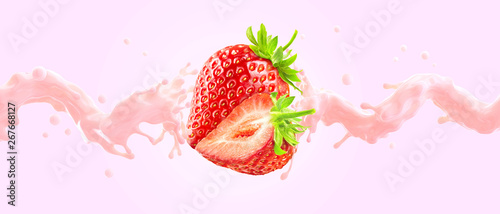 Fresh fruit yogurt splash with ripe strawberries. Healthy breakfast meal label design or advertising element with yogurt, cream, milk and strawberry. Milkshake ingredients isolated. 3D