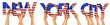 canvas print picture people arms hands holding up wooden letter lettering forming words new york city in USA american national flag colors tourism travel nation concept isolated white background