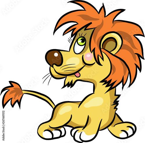 Poster de jardin Zoo Colorful cartoon comic young lion illustration.