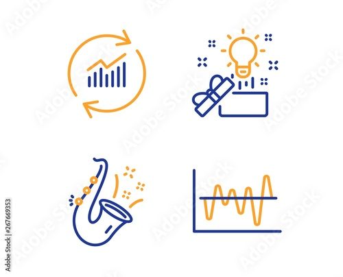 Fototapety, obrazy: Creative idea, Update data and Jazz icons simple set. Stock analysis sign. Present box, Sales statistics, Saxophone. Business trade. Education set. Linear creative idea icon. Colorful design set