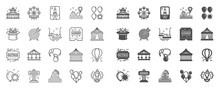 Amusement Park Line Icons. Set...