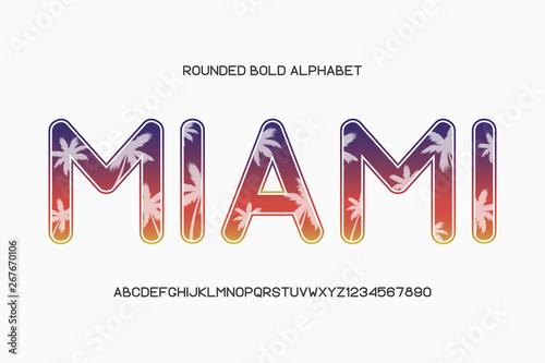 Rounded sans serif font  Round alphabet, typeface  Vector