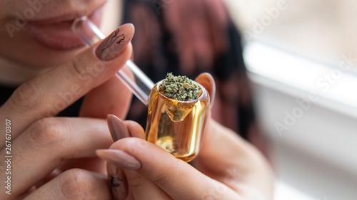 glass smoking tube for smoking marijuana buds Tapéta, Fotótapéta