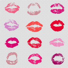 Female Red Lips Lipstick Kiss Print Set Transparent Background