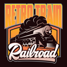 Colorful Retro Posters With A Vintage Locomotive. Vector Illustration