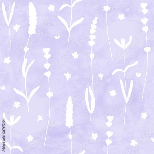 lawenda-kwitnie-biale-sylwetki-wzor-na-fioletowym-tle-akwarela