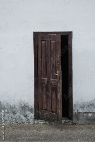 Ajar wooden vintage door Close-up Canvas Print