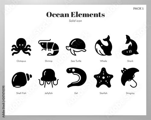 Ocean elements Solid pack Wallpaper Mural