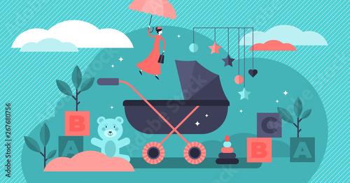 Babysitter vector illustration Wallpaper Mural