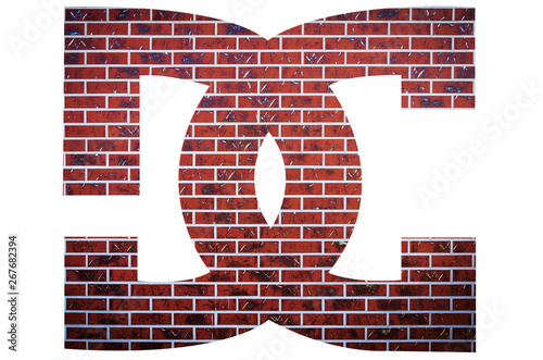 Red brick DC film studio sign on a white isolated background. Fototapet