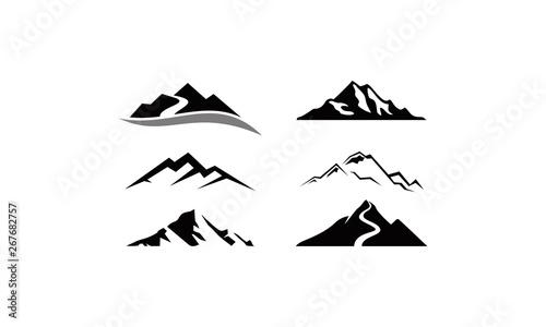 Fotomural mountain peak logo set