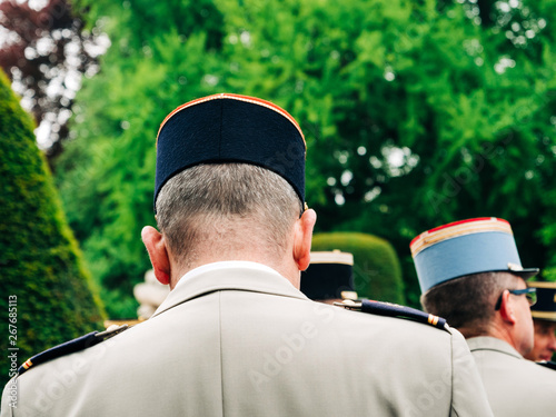 Tela  Rear view oh military general neck at ceremony to mark Western allies World War