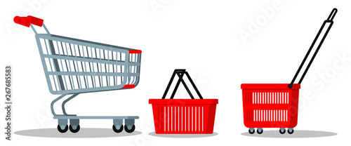 Obraz na płótnie Empty supermarket chrome metal trolley cart with wheels, red plasyic shopping basket icon set for goods isolated on white background
