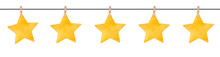 Seamless Repeatable Garland With Cute Little Stars Hanging On Wooden Clothespins. Hand Drawn Watercolour Paint On White Backdrop, Cutout Clip Art Border For Card, Invitation, Header, Scrapbook Album.