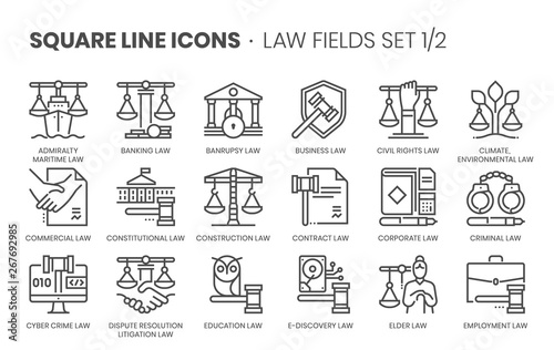 Photo Law fields related, square line vector icon set for applications and website development
