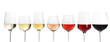 Leinwanddruck Bild - Row of glasses with different wines on white background