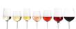 Leinwandbild Motiv Row of glasses with different wines on white background