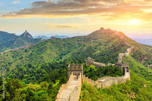 Photo sur Toile Muraille de Chine The Great Wall of China at sunset,Jinshanling