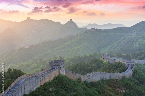 Spoed Fotobehang Chinese Muur The Great Wall of China at sunset,Jinshanling