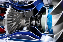 Engine Of Fighter Jet, Cross-section, Blades, Bearings And Other Hardware And Equipment, Army Aviation, Military Aircraft And Aerospace Industry, Selective Focus