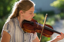 13 Year Old Girl Playing Violin Outside