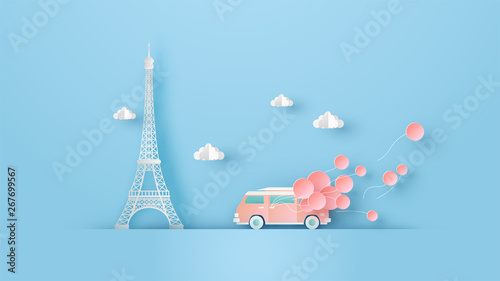Illustration of honeymoon travel in Paris with van car on valentine's day and place for your text space Fototapeta