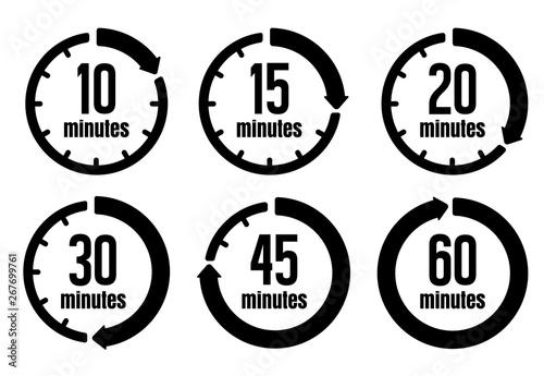 Clock , timer (time passage) icon set ( form 10 minutes to 60 minutes) Fototapeta