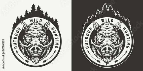 Vászonkép Vintage monochrome boar hunting round emblem