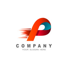 Logo Letter P, Letter P With Delivery Service Logo, Fast Speed, Moving And Quick