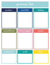 Grocery List, Printable Page, Vector Template For Diary, Planners, Books Or Notebooks.