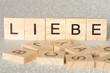 canvas print picture - Das Wort Liebe geschrieben aus Holzbuchstaben